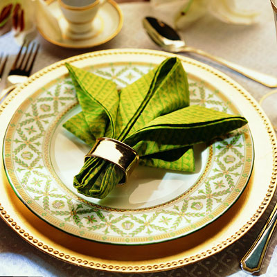 Folding Table Napkins : ... napkin ring or tassel around the base of the napkin to hold the fold