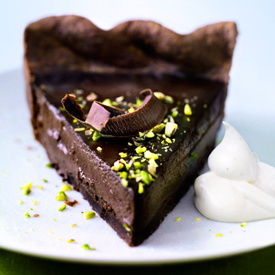 For the chocolate lover in us all: This densely rich pie is made with a filling of dark chocolate custard nestled in a tender, cocoa-flavored crust. A hint of pistachio helps to offset the sweetness.Recipe: Chocolate Pistachio Pie