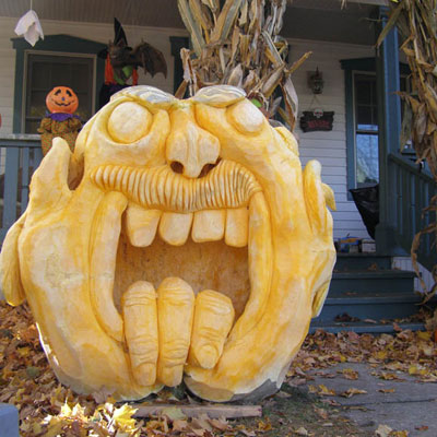 Another masterpiece by Ed Moody: He told the 1500+ trick-or-treaters who saw it that it was a man-eating giant and the fingers were all that was left of its last meal!