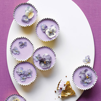 These dainty confections, iced with a pale shade of royal purple, are fit for a modern-day queen and her retinue. Lavender adds a delightful aroma and flavor to the icing. Recipes: Spring Cupcakes with Lavender Icing