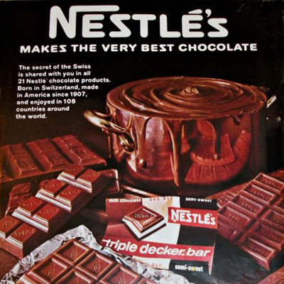 Brand: Triple Decker Bar, Nestlé's Year Launched: 1967 What Made It Great: Triple your pleasure. This is one of those chocolate bars that is so simple yet so brilliant. Nestlé's Triple Decker Bar had three lovely layers of chocolate: milk, white, and semisweet. During its tenure, white chocolate was a rarity in candy bar form (the reason for its popularity).