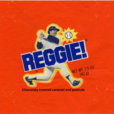"""Brand: Reggie Bars, Standard Brands Year Launched: 1978 What Made It Great: Celebrity endorsement. Three home runs in one game made Reggie Jackson a baseball legend. Jackson was approached by the Standard Brands company, which decided to rename its Wayne Bun bar — a circular chocolate with a dense caramel center and fresh-roasted peanuts — after the famous athlete and used the tagline """"the hit candy bar."""""""