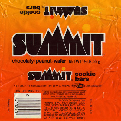 """Brand: Summit Cookie Bars, Mars Year Launched: 1980 What Made It Great: Hybrid cookie and candy bar. The tagline claimed, """"You'll love it 'cause it's chocolate, peanuts and...light!"""" This cookie-cum-chocolate bar was similar to a Kit Kat — a perfect blend of two layers of wafers enveloped in milk chocolate — but with the addition of crunchy roasted peanuts."""
