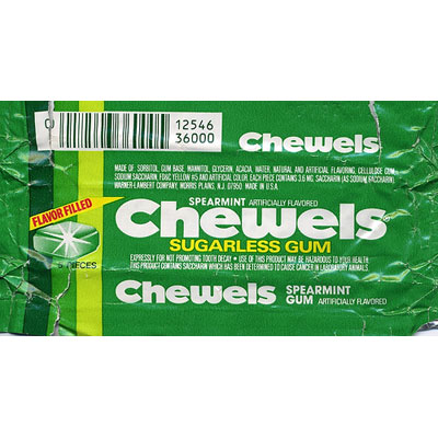 """Brand: Chewels Launched: Early '80s What Made It Great: It was liquid-filled. This soft, square gum with an extra squirt in the center claimed it was """"so full of flavor, you'll forget it's sugarless!"""" Fun fact: Chewels was the first commercial to air on MTV when the music video network launched in 1981."""