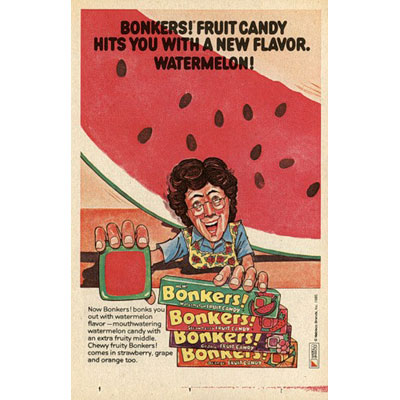 """Brand: Bonkers!, Nabisco Launched: Mid-'80s What Made It Great: Bonkers! Bonks ya out. Unlike Starbursts, these square, chewy candies had an """"extra fruity middle."""" Later they introduced (my personal favorite) chocolate with an intense dark fudge center. The commercials were pretty bonkers too."""