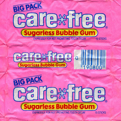 Brand: Care*Free Sugarless Gum, Hershey's Launched:1980s What Made It Great: It was long-lasting. Care*Free Sugarless gum came on the scene in flat sticks rivaling Trident. While 4 out of 5 dentists did not recommend Care*Free, a 1991 commercial featuring the pop-duo Milli Vanilli claimed the flavor would outlast the singers' infamous lip-synched act.