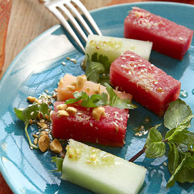 Street food recipes international street food fresh melon gets spiked with sesame ginger and lime juicecipe burmese forumfinder Images