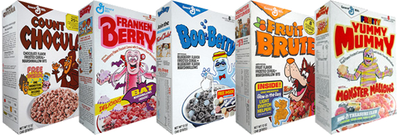Monsters Cereals - All 5 General Mills Halloween Cereals Available ...