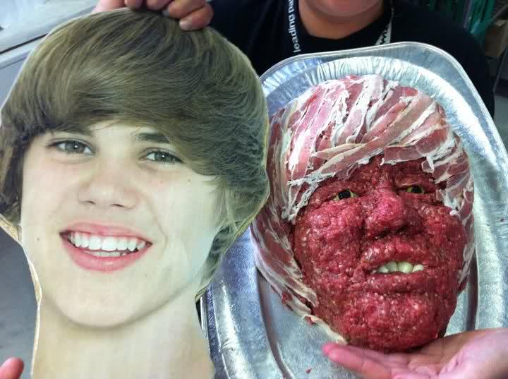 Justin Bieber Food Art Justin Bieber Meat Face