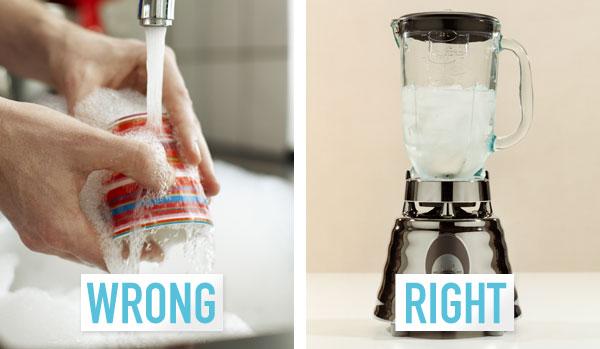 washing the blender