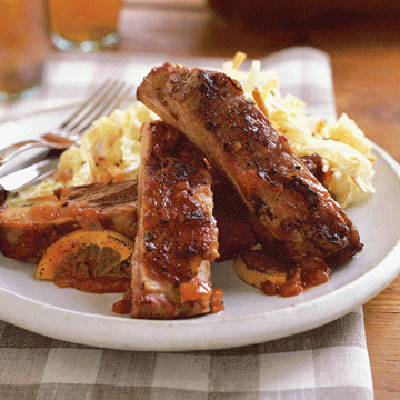 Country-style pork ribs come from the loin and are thicker, shorter, and meatier than longer, thin spareribs. Slow braising in a savory tomato-based barbecue sauce tenderizes and flavors the meat.Recipe: Barbecued Country Ribs with Lemon
