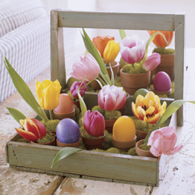 Brimming With Vibrant Tulips And Intensely Hued Eggs A Rustic Berry Tray Becomes Cheery