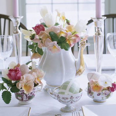 Easter Brunch Will Be Both Elegant And Informal With A Centerpiece Composed Of Sweetly Mismatched Tea