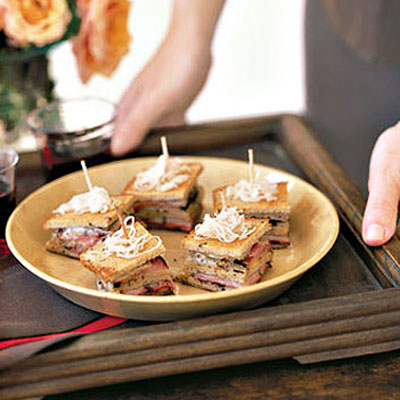 For A Light Luncheon, Serve Easy To Eat Sandwich Bites. Wooden Hors