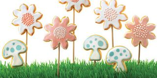 To make these flower-shaped cookies, you will need twenty-four 10-inch wooden skewers. To shape your cookies like mushrooms, use a 3-inch mushroom cookie cutter (countrykitchensa.com).Recipe: Flower Sugar Cookies