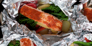 This is a great way to cook simple, fresh ingredients. Wrapping the ingredients in shiny 
