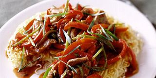 Crispy Noodle Pancake with Barbecued Pork