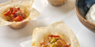 Wonton Cups with Cream Cheese and Chutney Recipe