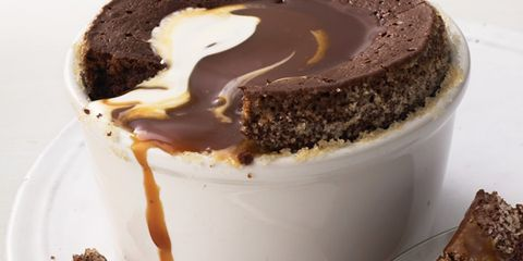 Chocolate cake with chocolate sauce topping