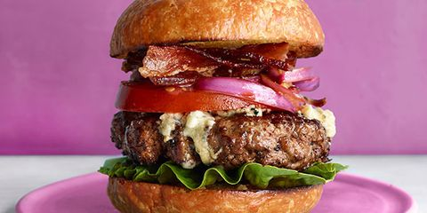 Recipes for men easy meals for men this spiced up burger is finished with warm melty blue cheese and balsamic forumfinder Gallery