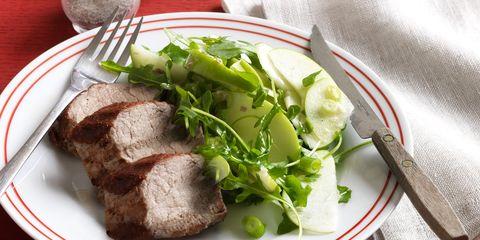 seared pork with horseradish apple salad