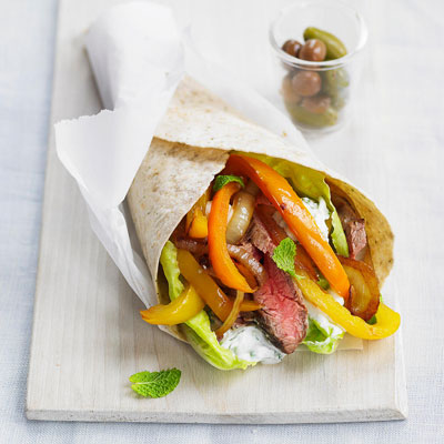 flank steak souvlakis wrap