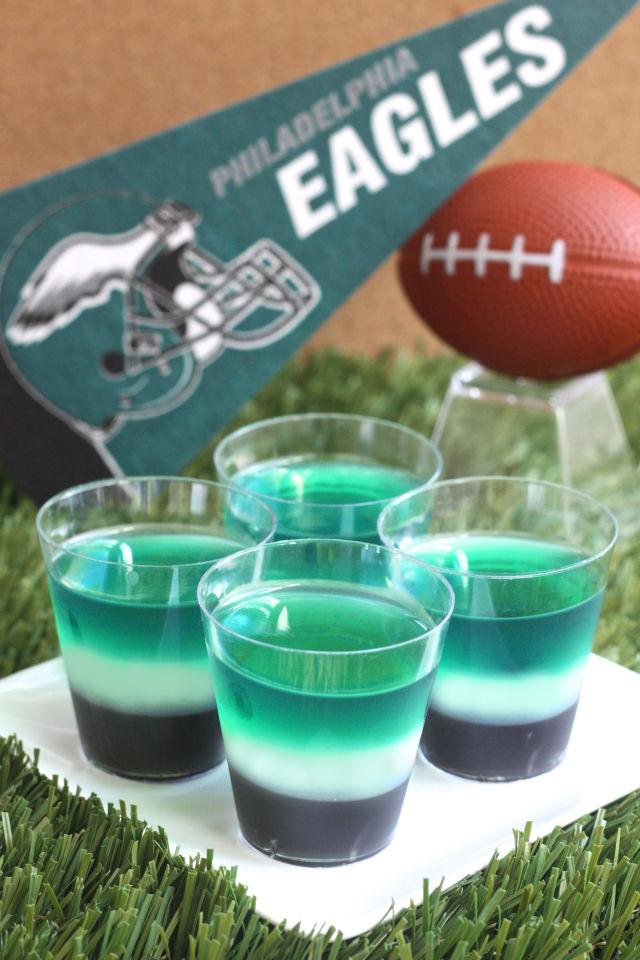 Philadelphia Eagles Jell-O Shots Super Bowl Sunday Snack Ideas New England Patriots Philadelphia Eagles