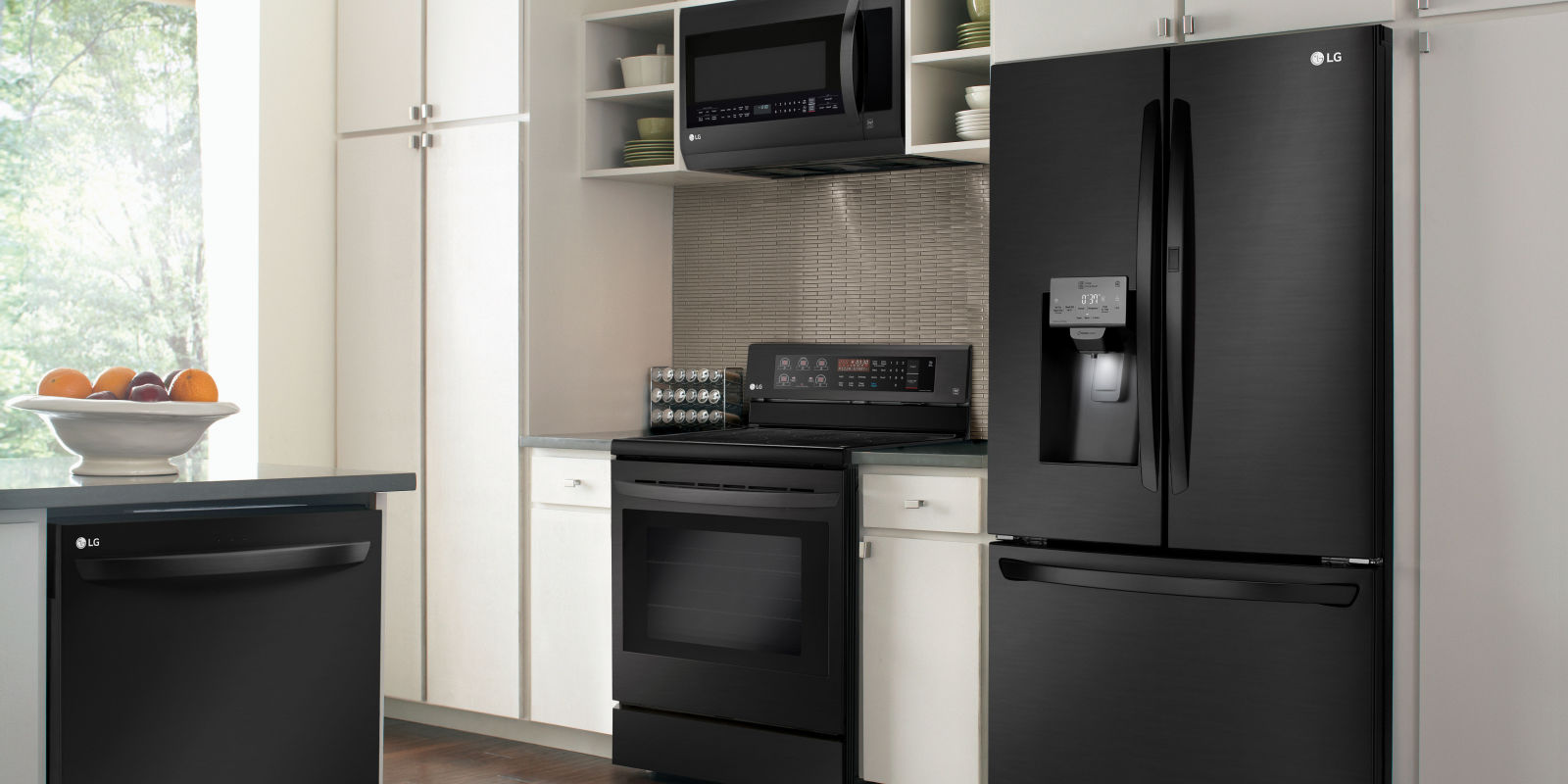 kitchen design with black appliances lg s new smart fridge proves matte black is here to stay 7988