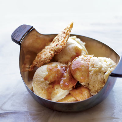 Using a slightly tart apple, like a Granny Smith or Pink Lady, is key to this frozen-yogurt sundae; sautéing brings out the fruit's sweetness. The crispy, salty cheddar crisps that accompany the sundaes are as good with cocktails as they are with desserts. Recipe: Apple Pie Sundaes with Cheddar Crust Shards