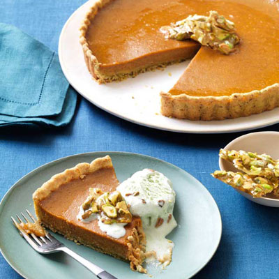 A pumpkin tart is pumpkin pie gone chic. Recipe: Pumpkin Tart with Pistachio Crust and Brittle