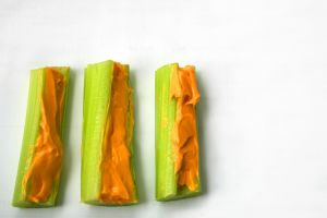 Celery filled with peanut butter